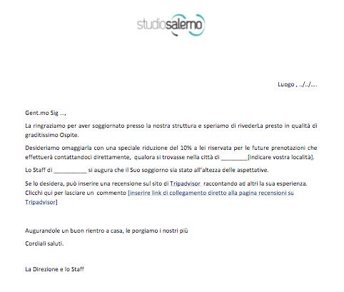 Modulo review email hotel for Fac simile preventivo rifacimento bagno